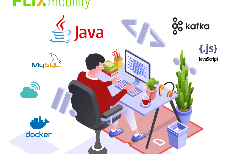 developer graphic with logos