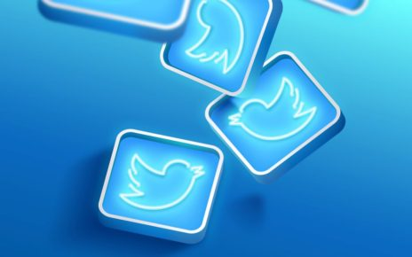 Illuminated neon twitter icons background