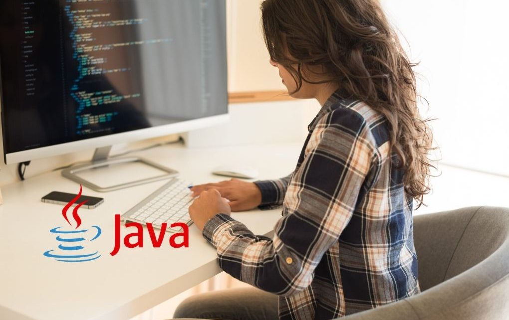 Women coding java logo