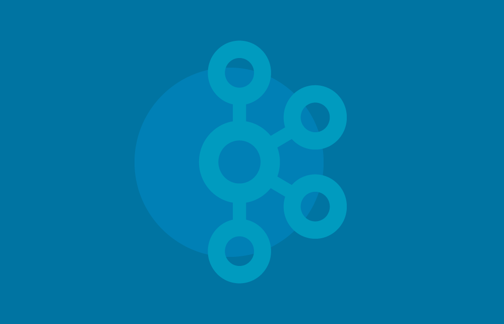 Apache Kafka logo in blue with darker blue backgorund