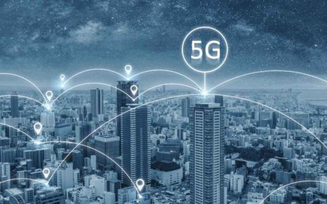 5G graphic with buildings