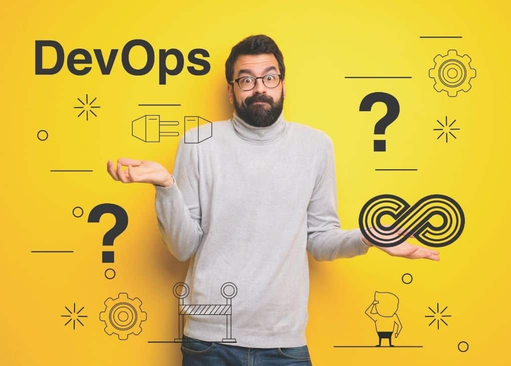 Man wondering expression about DevOps career with questions marks and graphics